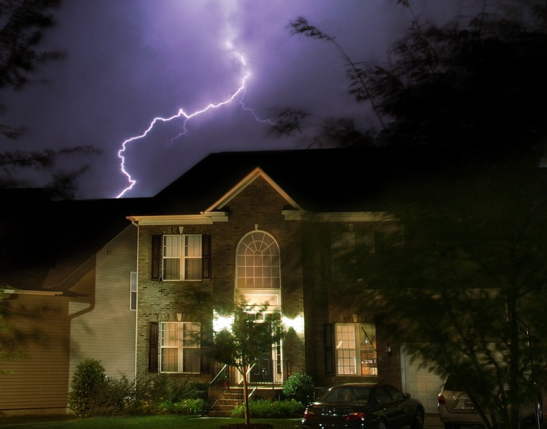 lightning at night with lights on