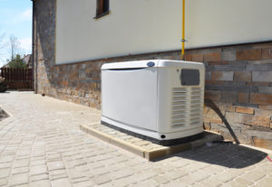 Generator installed on brick pad
